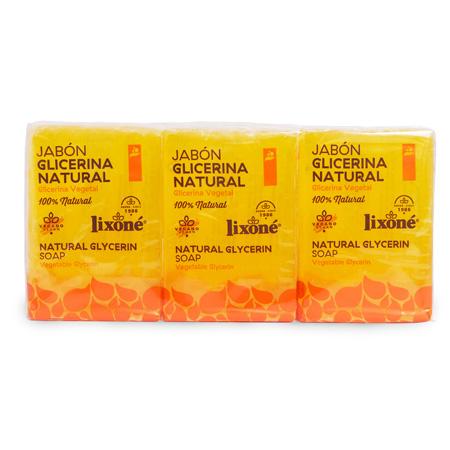 Pack de 3 jabones de glicerina natural en pastilla de 125 ml.