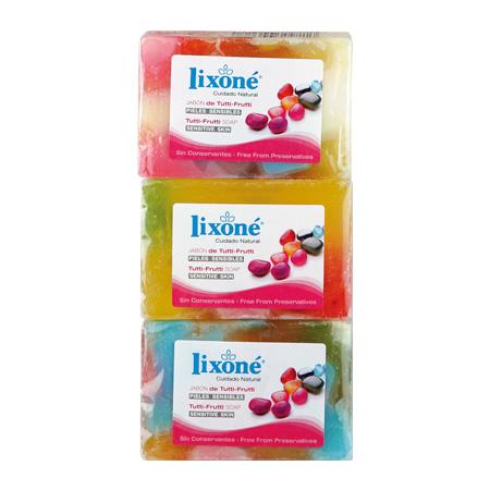 Pack de 3 jabones de tutti-frutti en pastilla de 125 ml.