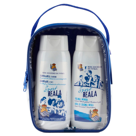 Neceser que contiene un bote de champú y gel sport (2 en 1) muy suave y un bote de agua de colonia