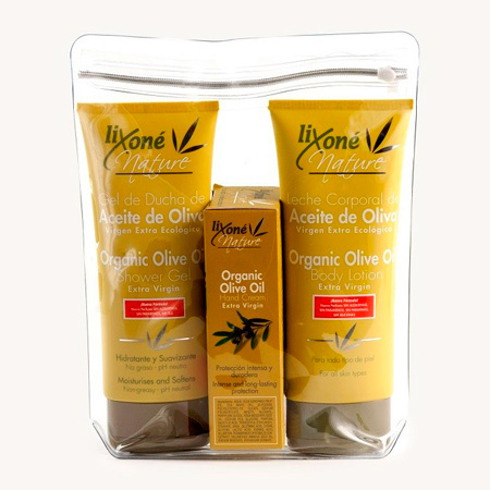 Pack Lixoné Nature que contiene Gel de ducha + Leche corporal + Crema de manos